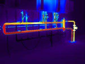 warmtebeelden van warmteverlies bij cv-leidingen